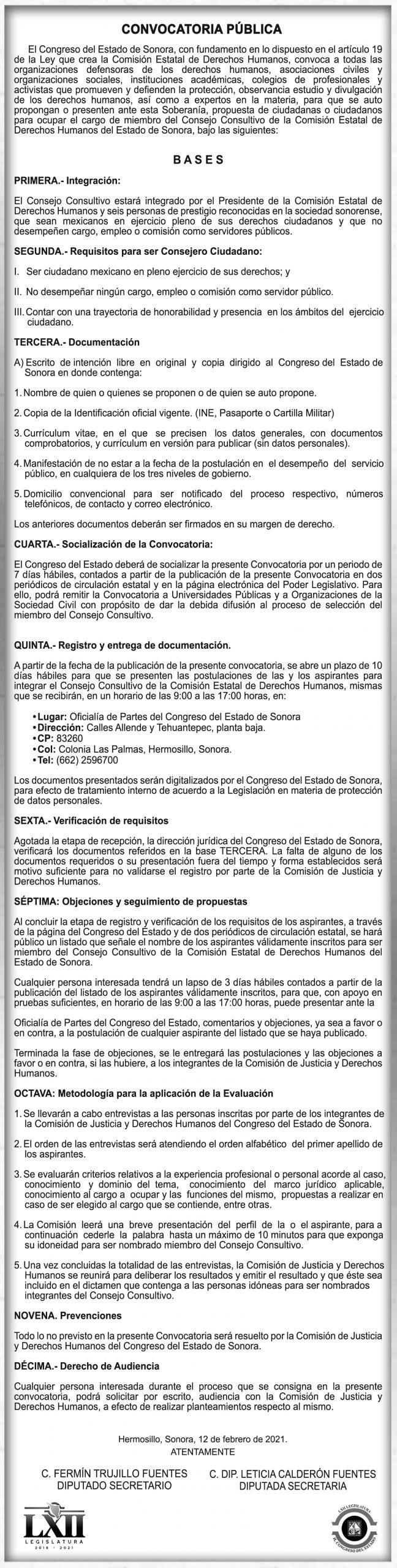 CONVOCATORIA CONSEJO CONSULTIVO DE LA COMISION ESTATAL DE DERECHOS HUMANOS