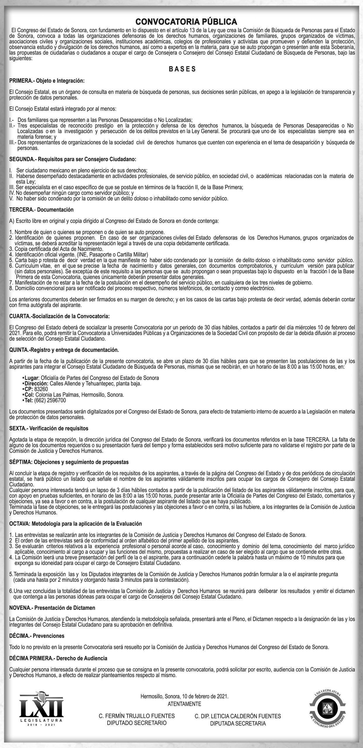CONVOCATORIA DE LA COMISION DE BUSQUEDA DE PERSONAS